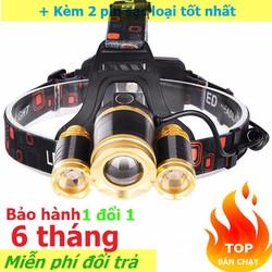 Đèn đội đầu,đeo trán pin sạc 3 bóng Led CREE T6 E65 siêu sáng có zoom