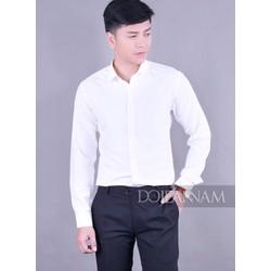 Áo sơ mi trắng nam dài tay 2018 – vải lụa chống nhăn.