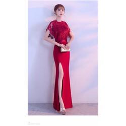Đầm dạ hội xê đùi ren choàng cổ cực xinh