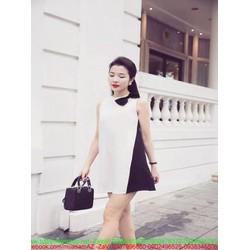 Đầm suông sát nách phối 2 màu đen trắng thắt nơ xinh đẹp DSV204