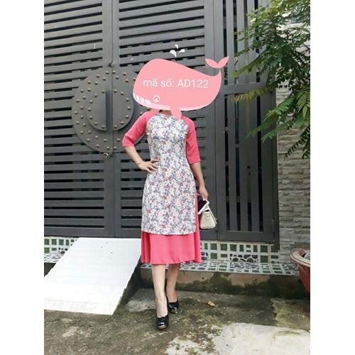Áo dài cách tân họa tiết hoa liti phối màu kèm váy có size lớn