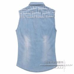 áo khoác denim sát nách họa tiết Mã: NK1114
