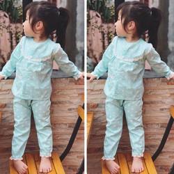 Set pijama chấm bi xanh ngọc đáng yêu cho bé