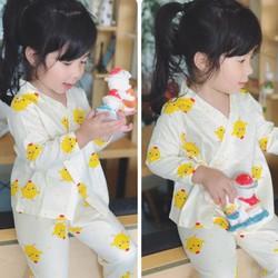 Bộ Yukata hình gà con siêu đáng yêu cho bé gái