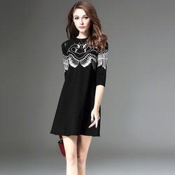 Đầm Suông Thêu Hoa Phối Ren - Hàng nhập cao cấp