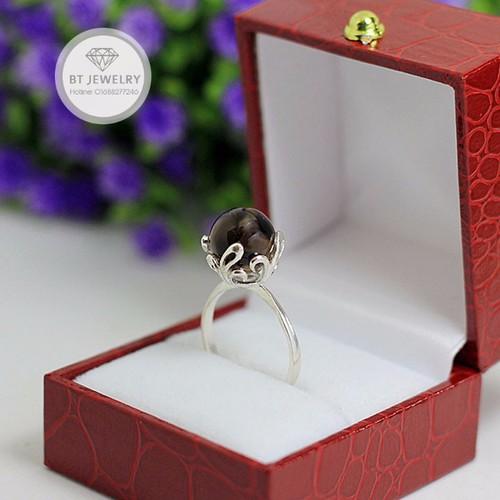 [Freeship 99k] nhẫn nữ đá phong thủy màu khói chất liệu s925 cao cấp