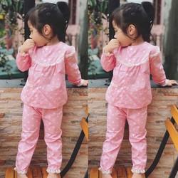 Set pijama chấm bi hồng đáng yêu cho bé