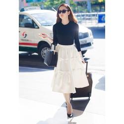 Set áo đen tay dài chân váy xòe - Size M L XL