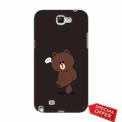 Ốp lưng nhựa dẻo Samsung  Note 2_Gấu Brown Dễ Thương