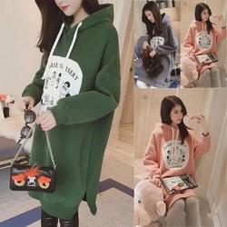 Áo hoodie dáng dài dễ thương - hàng nhập Quảng Châu