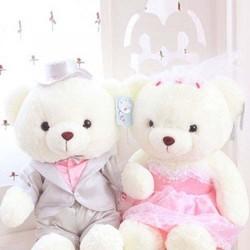 Gấu bông cô dâu chú rể trắng 80 cm