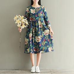 Đầm bầu hoa dài tay đẹp