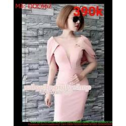 Đầm ôm body dự tiêc cổ V phối lưới màu hồng xinh đẹp DOC662