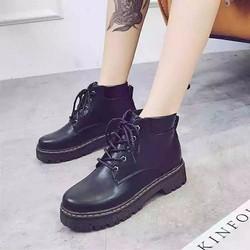 Giày bốt nữ cổ trung pha viền đen thời trang