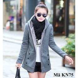 Áo khoác nỉ lót lông mỏng nữ KN75