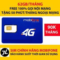 SIM 4G Mobifone 62Gb mỗi tháng + nghe gọi