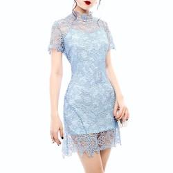 Đầm Ren Hoa Dây Nơ Ruy Băng Sau Lưng #99072