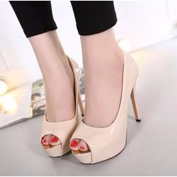 Giày cao gót hở mũi da bóng
