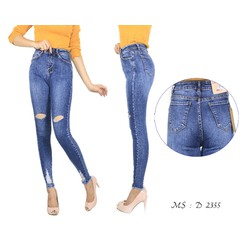 Quần Jeans dài rách gối tua lai