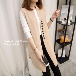 Áo khoác gile len lông cừu dáng dài Hàn Quốc