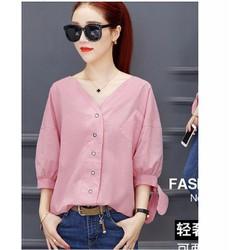 Áo kiểu tay đính nơ phối túi Hàn Quốc
