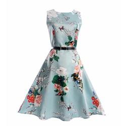 Đầm phi lụa cao cấp họa tiết hoa mùa xuân size đại