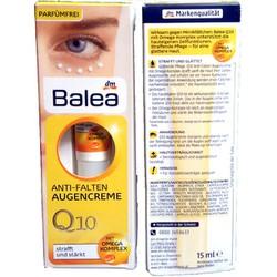 Kem dưỡng mắt Balea Anti Falten Q10 giảm nếp nhăn, xách tay Đức
