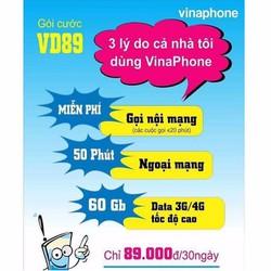 Sim 4G Vinaphone gói cước VD89