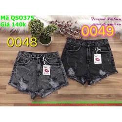 Quần jean short nữ rách màu đen xám cá tính QSO375