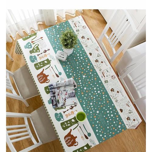 Khăn trải bàn canvas nhiều kích thước sọc chấm bi vải bố chống thấm kb027 vin-store