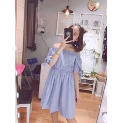 Đầm Xòe Sọc Trễ Vai Cột Tay Nơ