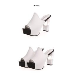 Dép thời trang cao cấp, đế vuông, cao 10cm, 2 màu, trắng , đen.