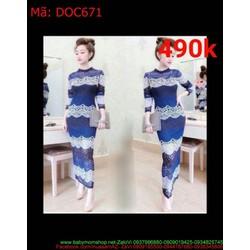 Đầm body phom dài hoa văn gợn sóng ren cao cấp DOC671