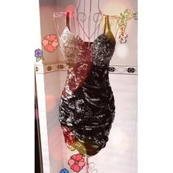 Đầm body nhún 2 dây cúp ngực đính kim sa sang trọng