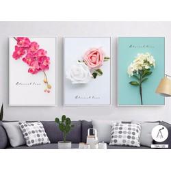 Tranh bộ treo tường 3 bức hoa