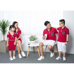 Sét Áo Váy Gia Đình Màu Đỏ Hở Vai Cách Điệu HGS 501
