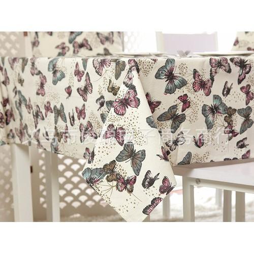 Khăn trải bàn canvas nhiều kích thước bướm xanh đỏ vải bố kb013 vin-store