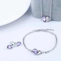 Bộ trang sức hình tim đính đá tím violet