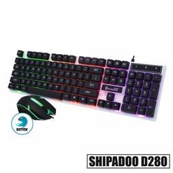 Bàn phím game thủ giả cơ và chuột Shipadoo D280 LED Đen