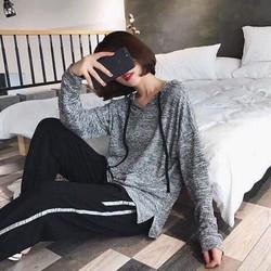 Áo nỉ hoodie xám tiêu