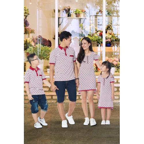 Sét áo váy gia đình phối đỏ xinh hgs 490