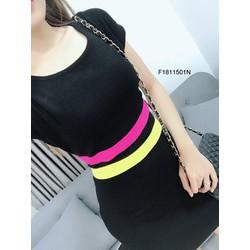 Đầm body len eo sọc màu tay con hàng nhập! MS: S181109 Giá sỉ: 105k