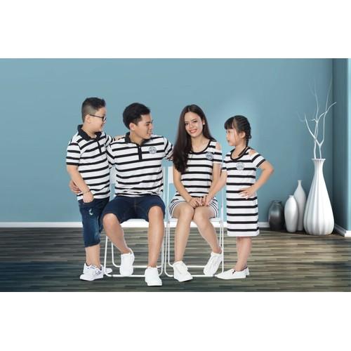 Sét áo gia đình trắng phối sọc hgs 491
