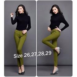 KQ191 Quần Skinny jean color block lưng cao 1 nút