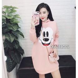 Đầm suông nón Mickey - chỉ còn màu hồng