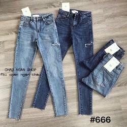 Quần jeans dài rách nhẹ