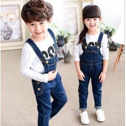 Yếm jean quần dài phối túi đơn giản cho bé trai và gái