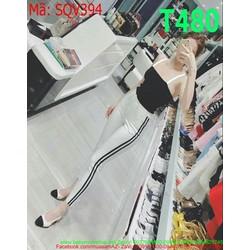 Sét áo cúp 2 dây và quần dài sọc viền trẻ trung năng động SQV394