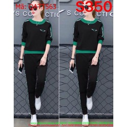 Bộ thể thao nữ dài tay phối viền màu sành điệu và năng động QATT563