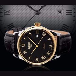 Đồng hồ nam Skmei dây da mặt đen